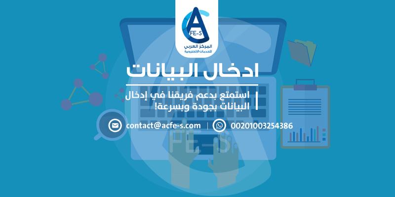 مدخل بيانات لـ ادخال البيانات بجودة وبسرعة - المركز العربي للخدمات الإلكترونية