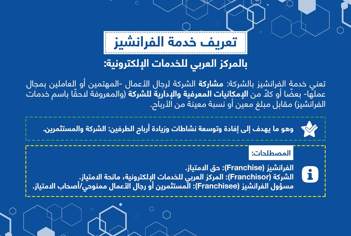تعريف خدمة الفرانشيز بالمركز العربي للخدمات الإلكترونية - ACFE-S